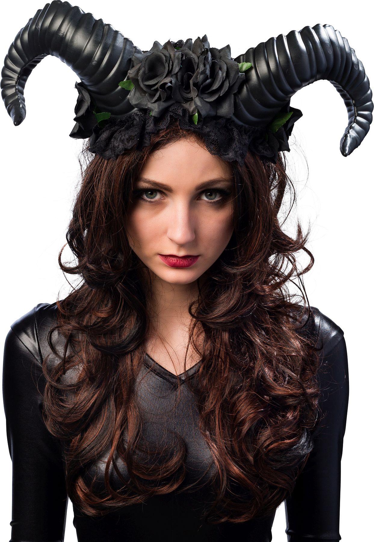 Teufelshörner mit Blumen schwarz