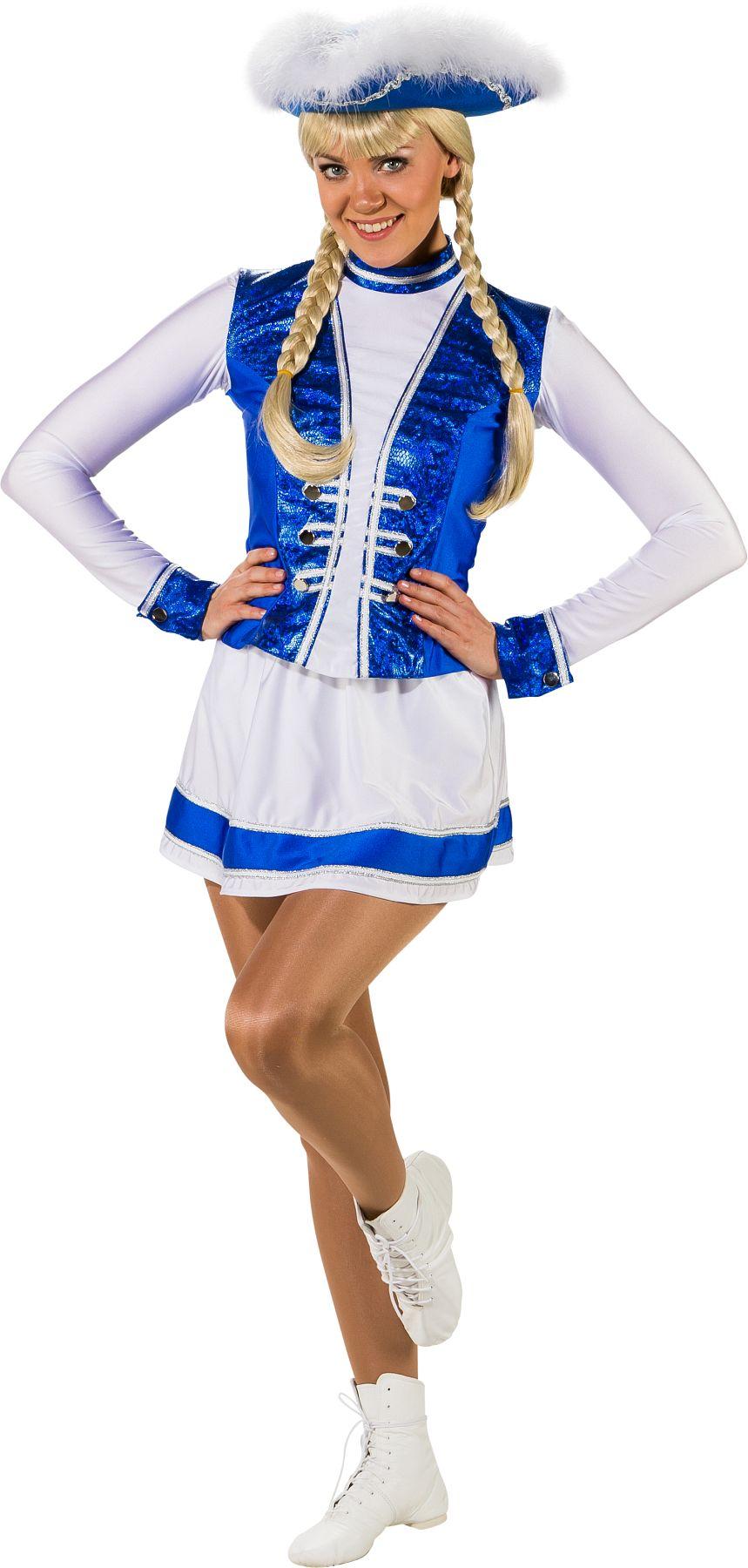 Gardekleid 2-teilig, blau-weiß