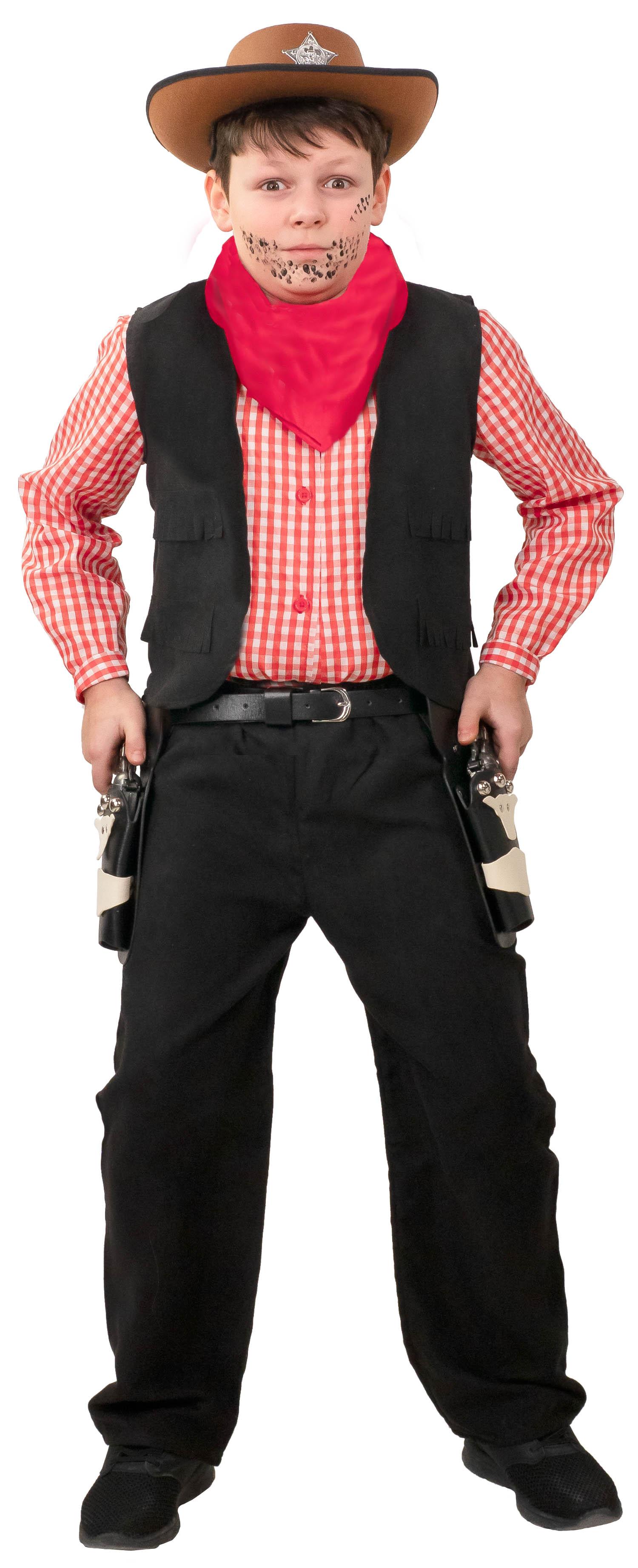 Kinderkostüm Cowboy 4-teilig, schwarz