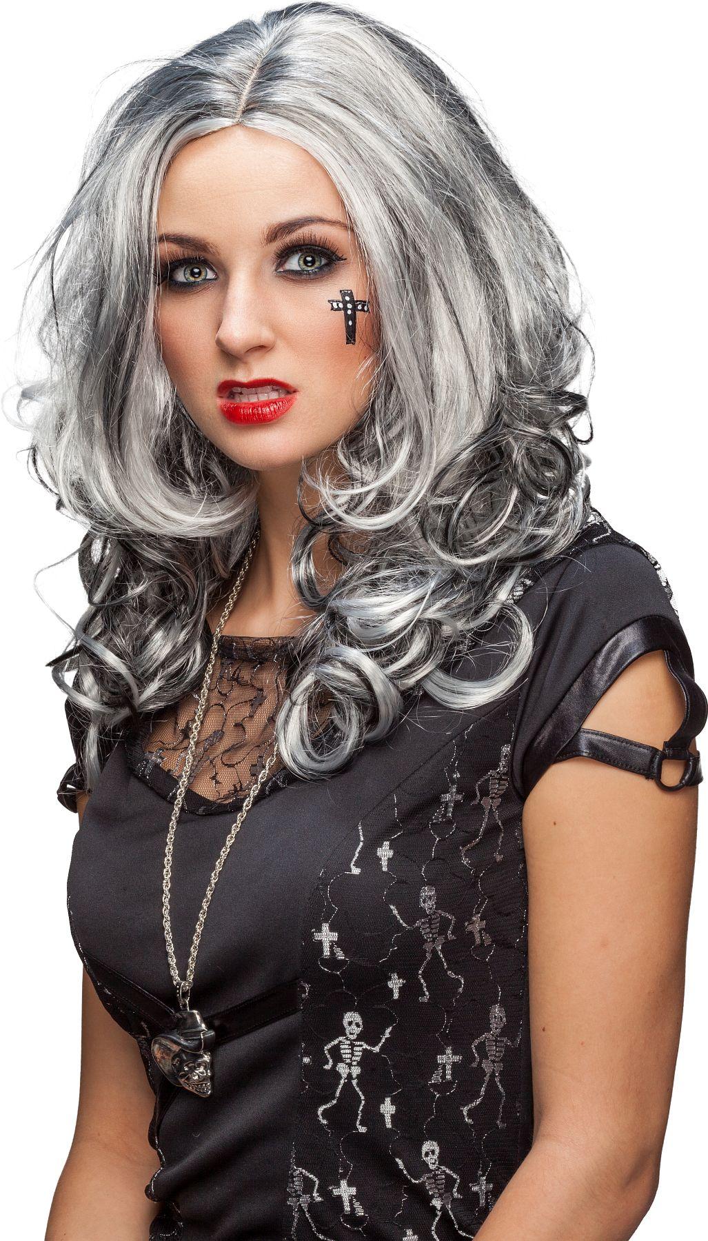 Damenperücke, grau-schwarz, meliert